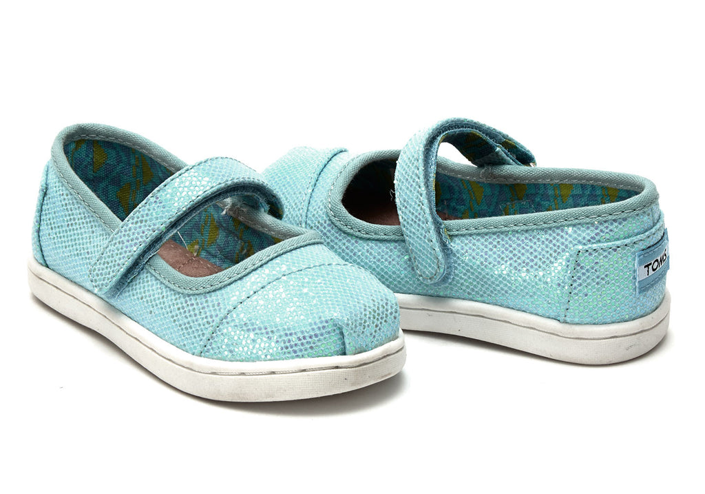 AQUA GLIMMER TINY TOMS MARY JANES - SustainTheFuture.us - The Natural and Organic Way of Life