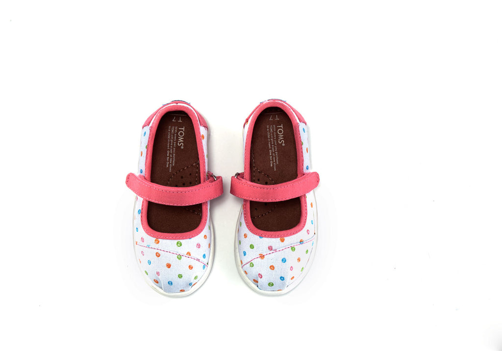 WHITE CANVAS SCRIBBLE DOTS TINY TOMS MARY JANES