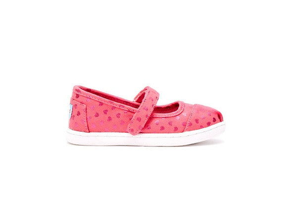 PINK CANVAS HEARTS TINY TOMS MARY JANES