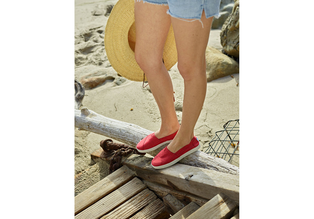 RED BRUSHED NYLON WOMEN'S AVALON SLIP-ONS
