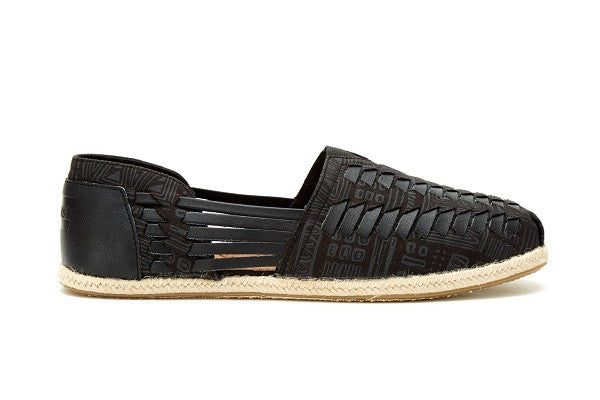 BLACK/GREY TIKI TEXTILE MEN'S HUARACHE ALPARGATAS - SustainTheFuture.us - The Natural and Organic Way of Life