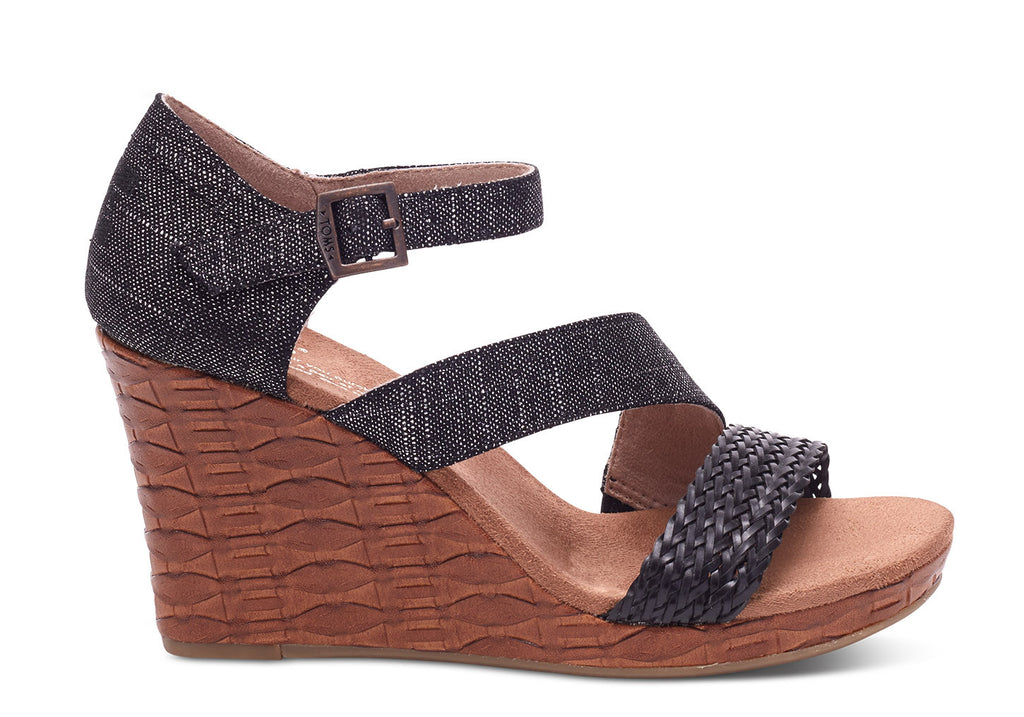 BLACK METALLIC LINEN WOMEN'S EMBOSSED CLARISSA WEDGES - SustainTheFuture.us - The Natural and Organic Way of Life