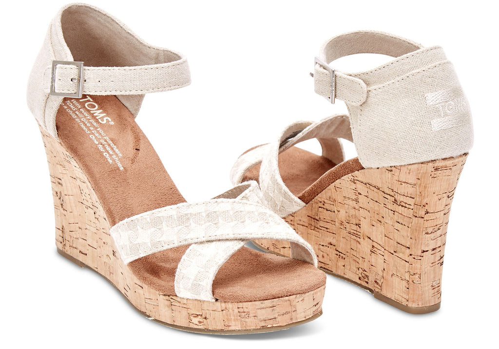 NATURAL WOVEN WOMEN'S CORK STRAPPY WEDGES