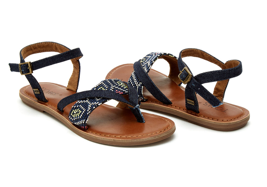 NAVY MULTI WOVEN WOMEN'S LEXIE SANDALS - SustainTheFuture.us - The Natural and Organic Way of Life