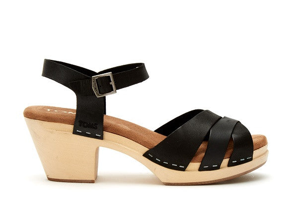 BLACK LEATHER WOMEN'S BEATRIX CLOG SANDALS - SustainTheFuture.us - The Natural and Organic Way of Life