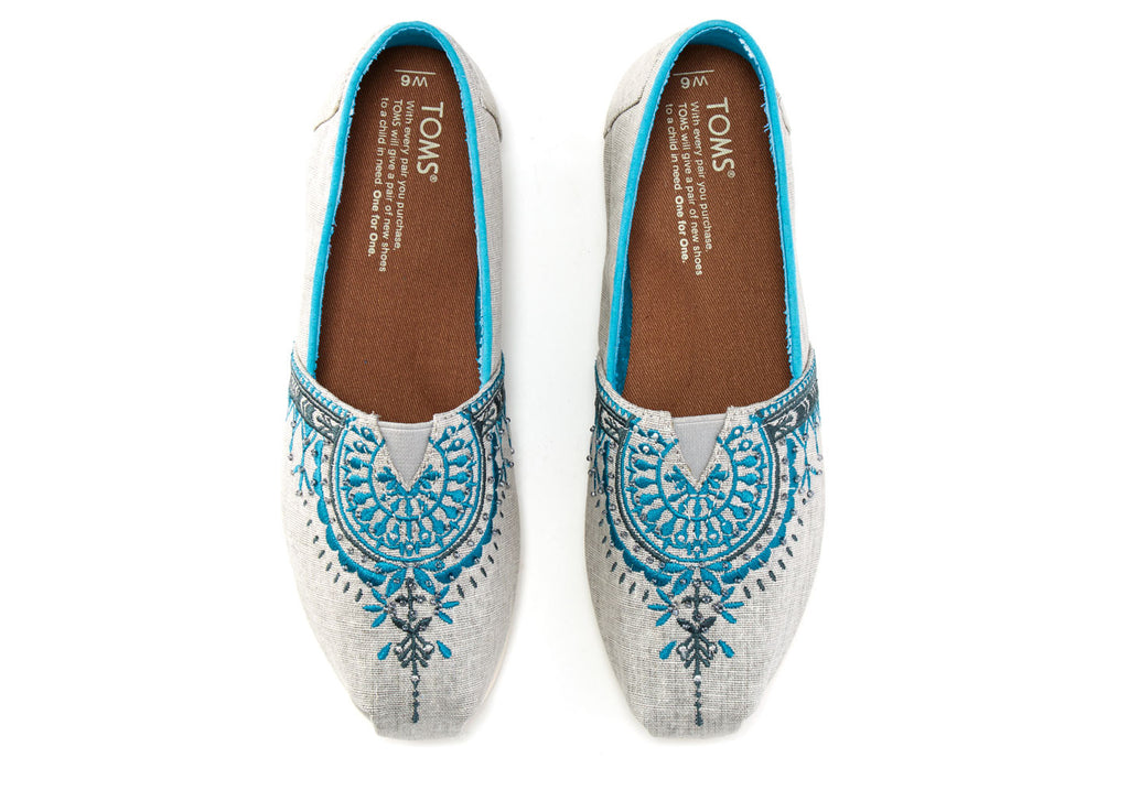 LIGHT GREY CANVAS BEADED EMBROIDERY WOMEN'S CLASSICS - SustainTheFuture.us - The Natural and Organic Way of Life