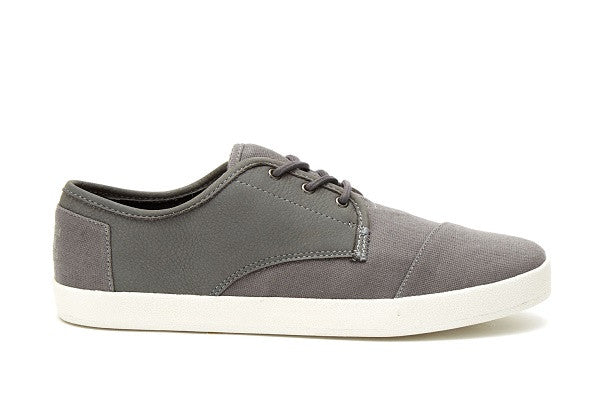 DARK GREY LEATHER/WASHED CANVAS MEN'S PASEO SNEAKERS - SustainTheFuture.us - The Natural and Organic Way of Life