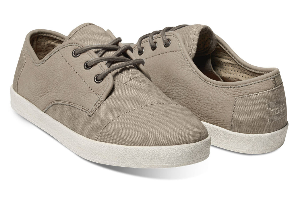 TAUPE LEATHER/WASHED CANVAS MEN'S PASEO SNEAKERS