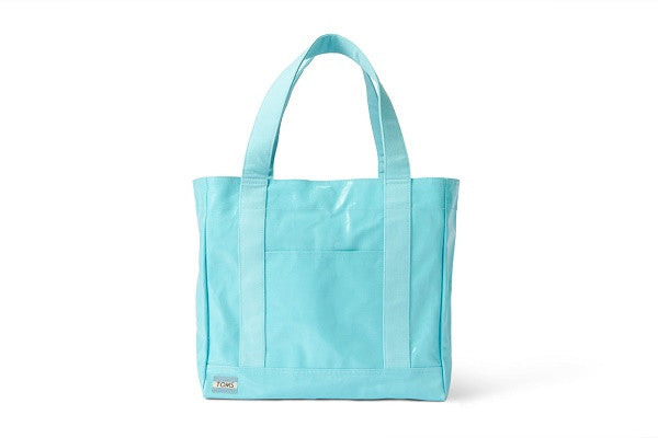 AQUA SHINY COATED CANVAS AVENUE TOTE - SustainTheFuture.us - The Natural and Organic Way of Life