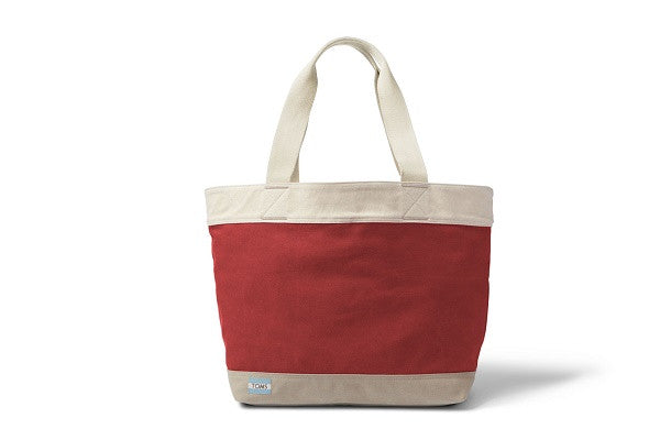 RED CANVAS TRANSPORT TOTE