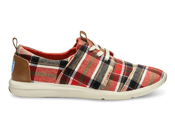 RED AND TAN PLAID WOMEN'S DEL REY SNEAKERS