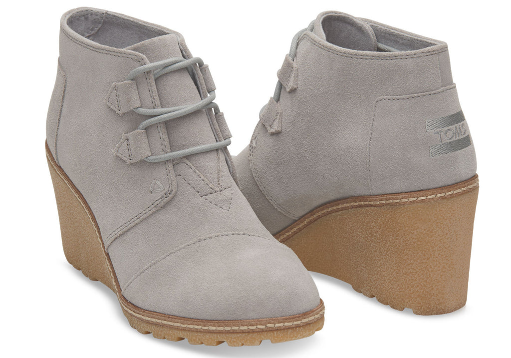 DRIZZLE GREY SUEDE WOMEN'S CREPE DESERT WEDGES - SustainTheFuture.us - The Natural and Organic Way of Life