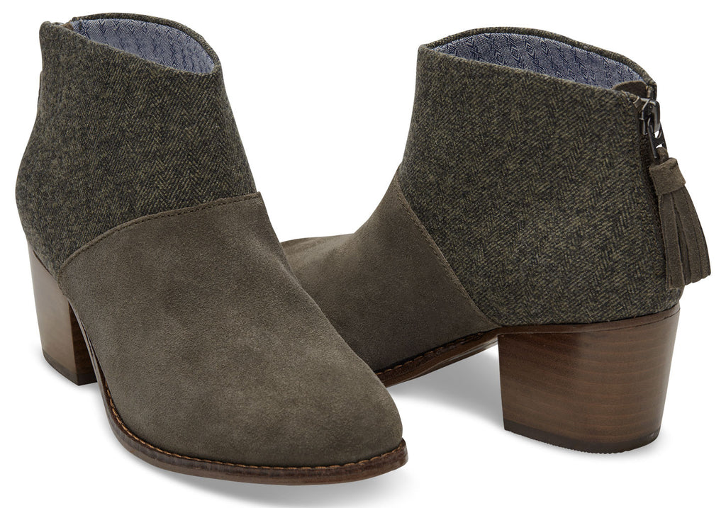 FORGED IRON GREY SUEDE AND TRIBAL WOOL WOMEN'S LEILA BOOTIES - SustainTheFuture.us - The Natural and Organic Way of Life