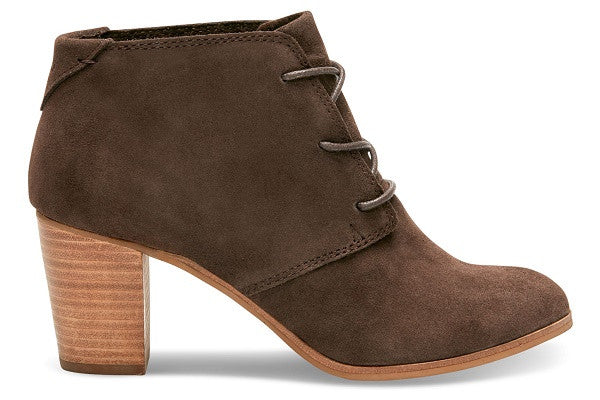 CHOCOLATE BROWN SUEDE WOMEN'S LUNATA LACE-UP BOOTIES - SustainTheFuture.us - The Natural and Organic Way of Life