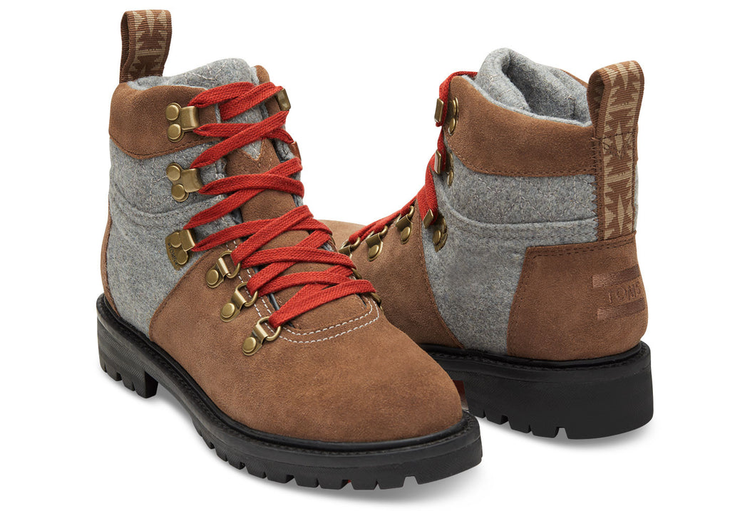 RAWHIDE SUEDE AND GREY WOOL WOMEN'S SUMMIT BOOTS