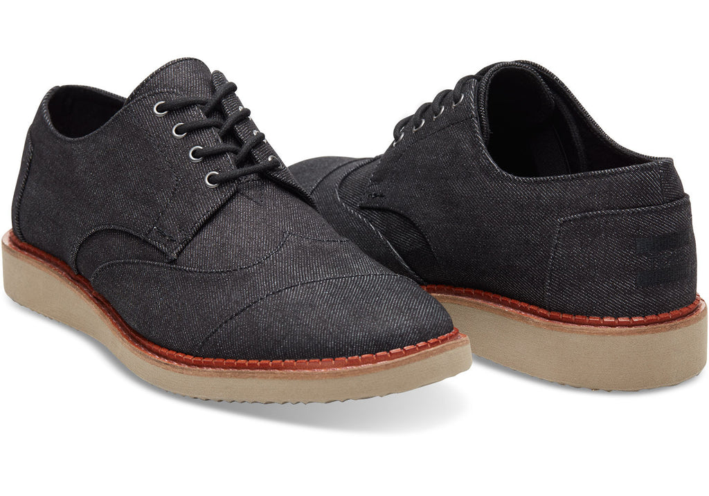 BLACK DENIM MEN'S BROGUES
