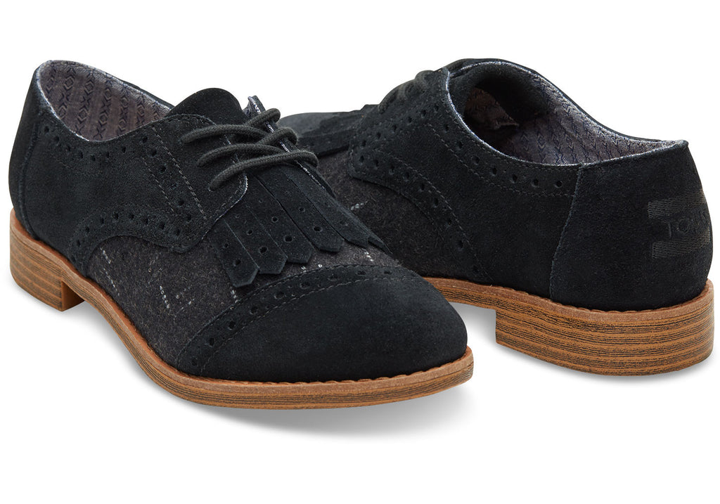 BLACK SUEDE AND WOOL WITH KILTIE WOMEN'S BROGUES