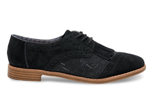 BLACK SUEDE AND WOOL WITH KILTIE WOMEN'S BROGUES - SustainTheFuture.us - The Natural and Organic Way of Life