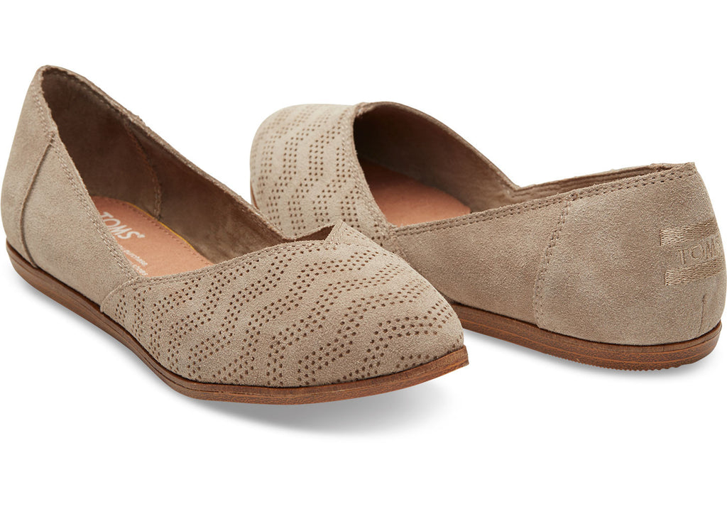 DESERT TAUPE SUEDE CHEVRON EMBOSSED WOMEN'S JUTTI FLATS - SustainTheFuture.us - The Natural and Organic Way of Life