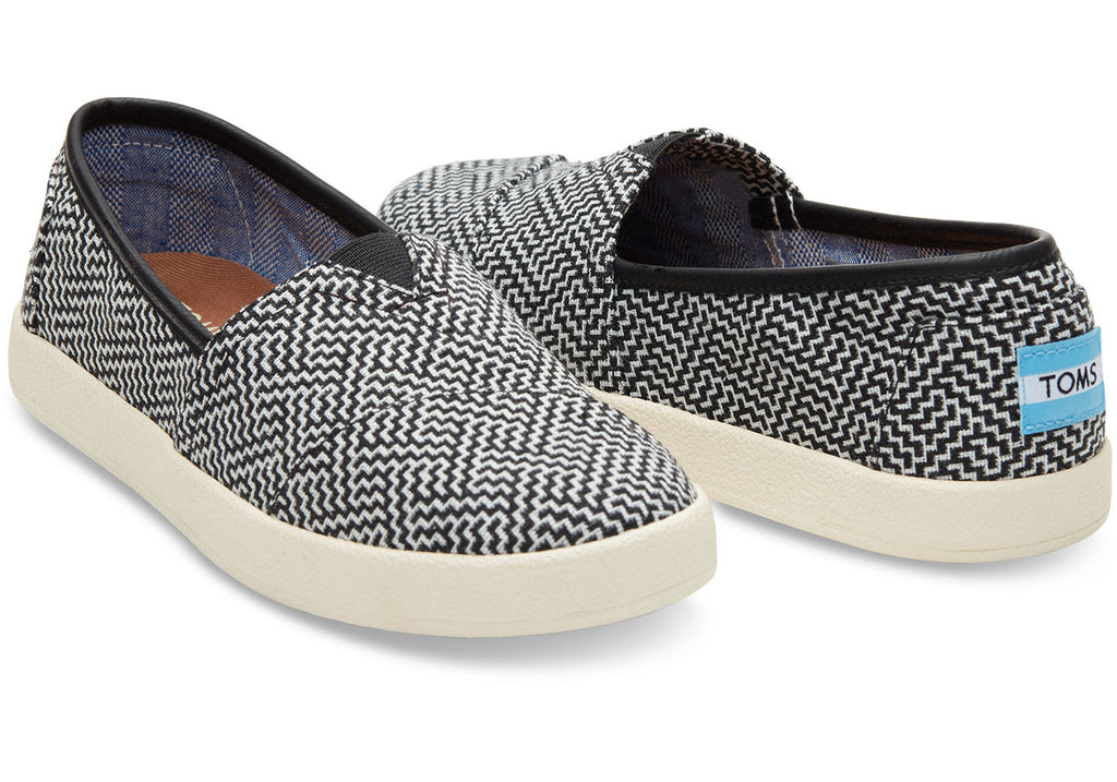 BLACK GEOMETRIC WOVEN WOMEN'S AVALON SLIP-ONS