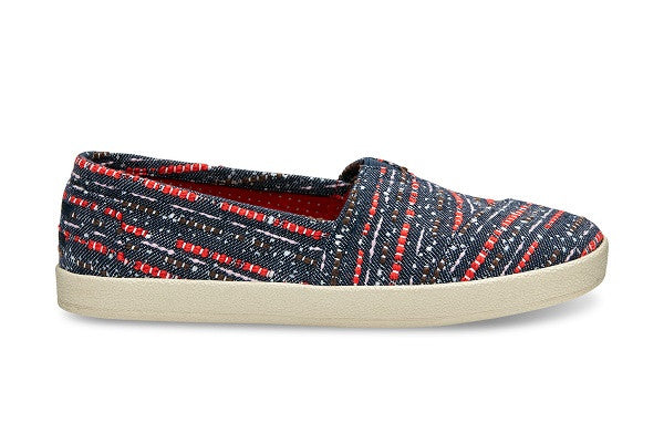 BLUE MULTI DENIM WOMEN'S AVALON SLIP-ONS - SustainTheFuture.us - The Natural and Organic Way of Life
