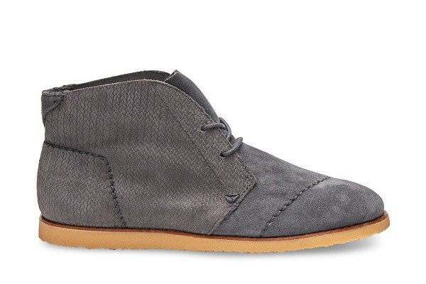 CASTLEROCK GREY EMBOSSED SUEDE WOMEN'S MATEO CHUKKA BOOTIES - SustainTheFuture.us - The Natural and Organic Way of Life