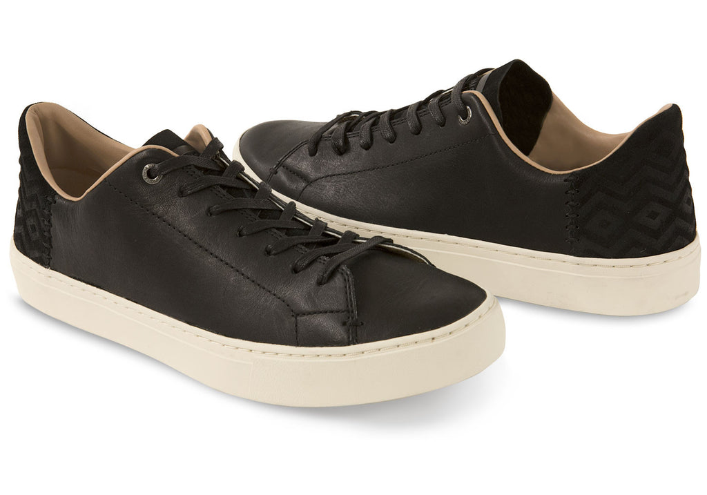 BLACK LEATHER MEN'S LENOX SNEAKERS
