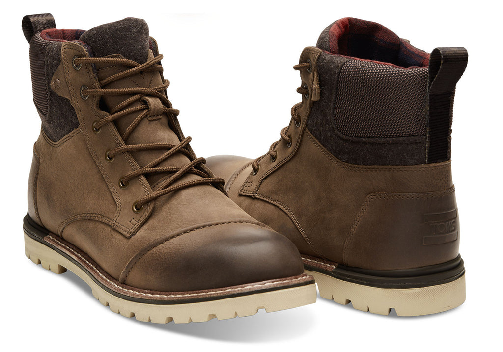 BROWN BURNISHED LEATHER WOOL MEN'S ASHLAND BOOTS