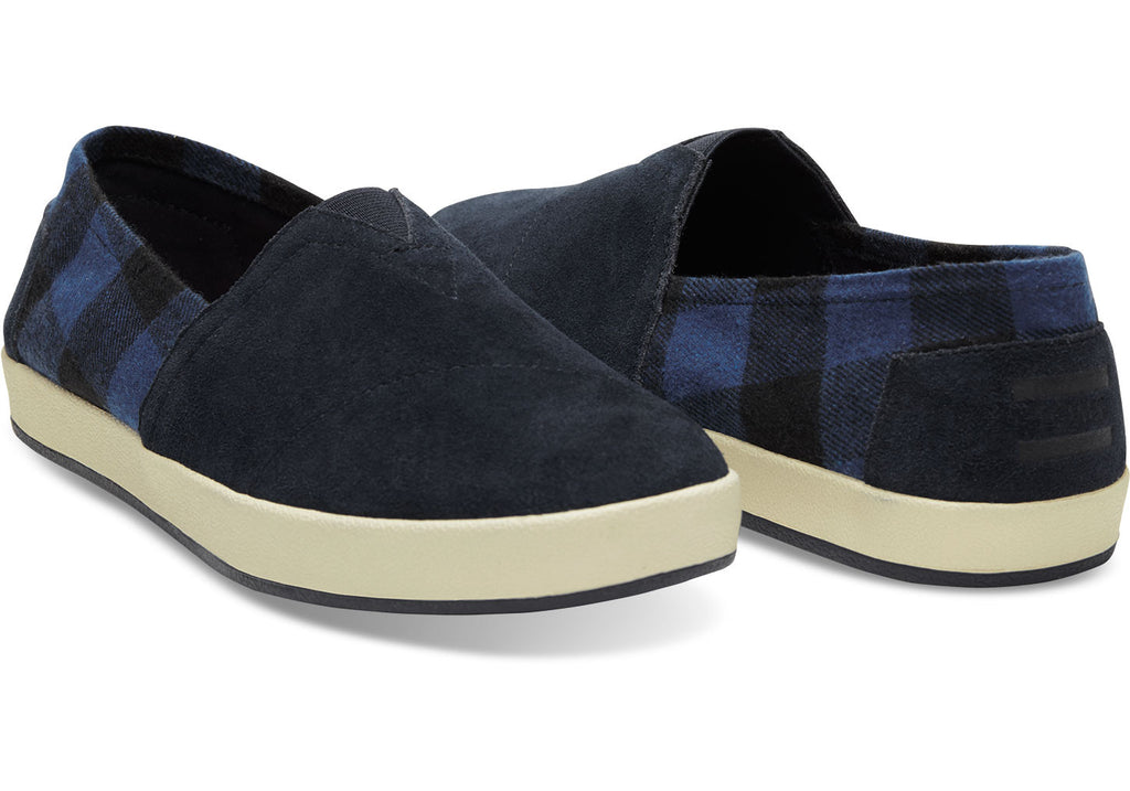 NAVY SUEDE BUFFALO PLAID MEN'S AVALON SLIP-ONS - SustainTheFuture.us - The Natural and Organic Way of Life