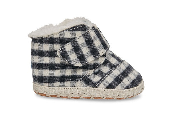 BLACK PLAID BRUSHED TWILL TINY TOMS CUNA CRIB SHOES - SustainTheFuture.us - The Natural and Organic Way of Life