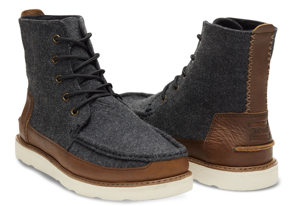 GREY HERRINGBONE BROWN LEATHER MEN'S SEARCHER BOOTS