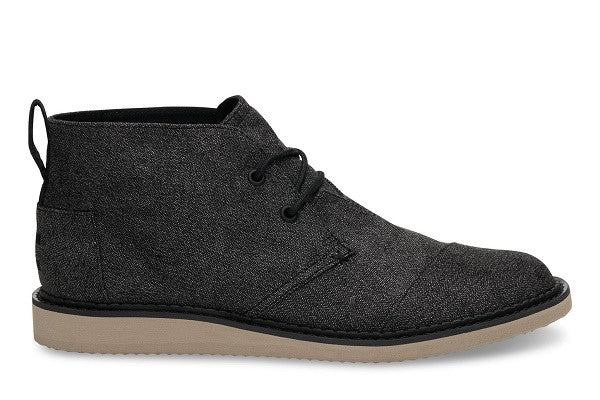 CHARCOAL HERRINGBONE MEN'S MATEO CHUKKA BOOTS - SustainTheFuture.us - The Natural and Organic Way of Life