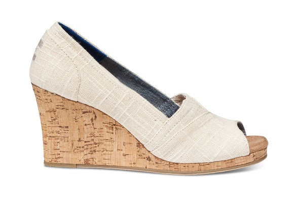 NATURAL LINEN CORK WOMEN'S CLASSIC WEDGES - SustainTheFuture.us - The Natural and Organic Way of Life