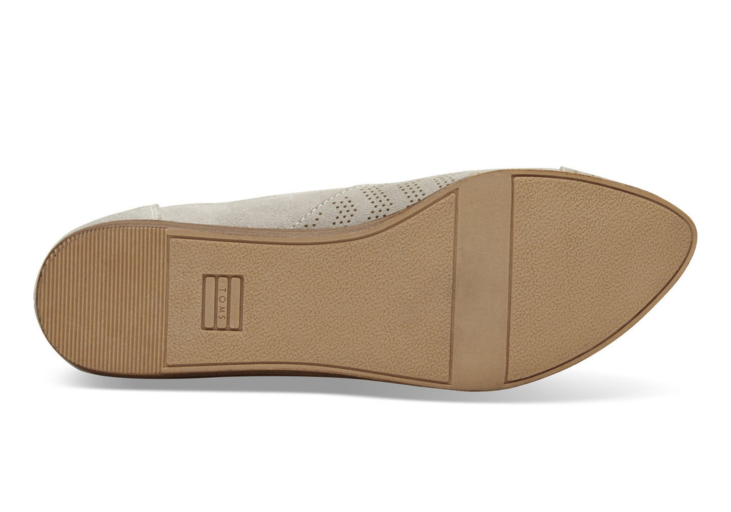 DESERT TAUPE SUEDE CHEVRON EMBOSSED WOMEN'S JUTTI FLATS