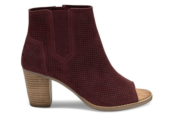 OXBLOOD PERFORATED SUEDE WOMEN'S MAJORCA PEEP TOE BOOTIES