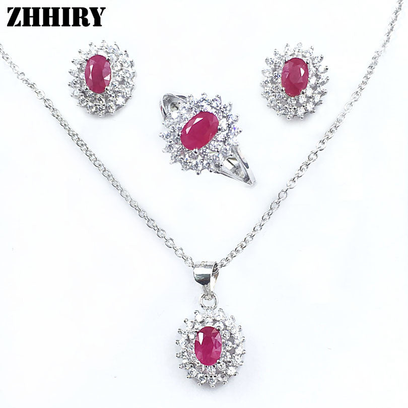 Natural ruby gem stone Jewelry set Genuine solid 925 sterling silver sets Women ring earrings pendant necklace sets