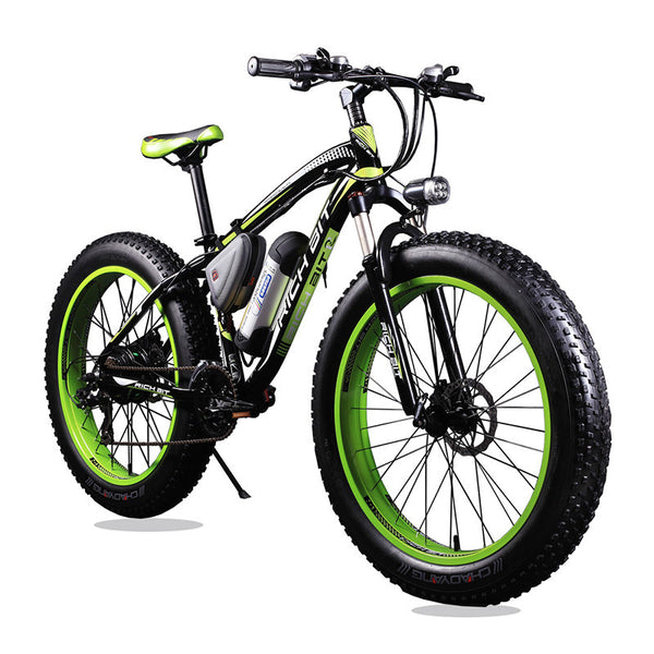 New 36V 350 Watt Lithium Battery Electric Snow Bike Mountain Bike SHIMAN0 24 Speed Electric Bicycle Black and Green Road Cycling