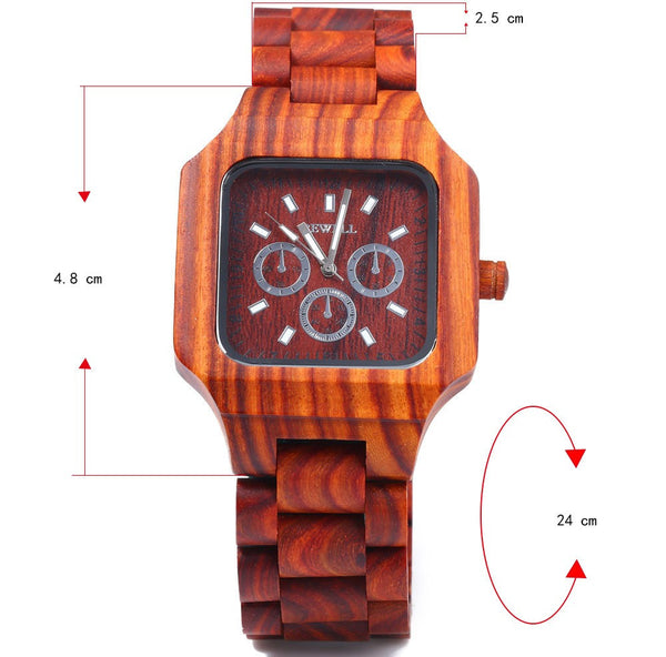 Bewell Men Wooden Watch Quartz Movement, Fashion Red Sandalwood Man Wristwatch Three Small Dials for Decoration Watches relogio