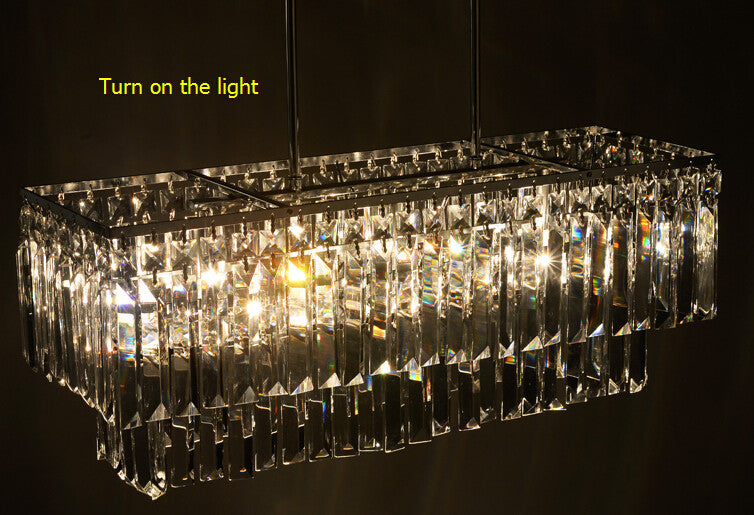 2016 New arrived  /luxury crystal pendant lamp/20W led E14 light base kitchen  rectangular crystal stainless steel lamp