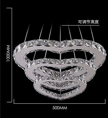 50*38*23cm/3 rings 3 hearts crystal led pendant lights / fasion led romantic lamp/ living room/hotel minimalist lamp