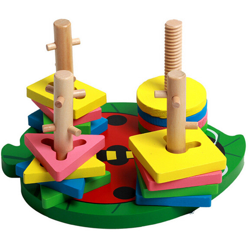 2016 New Column shape building block cognitive Geometric shape colorful  intelligence Wooden toys