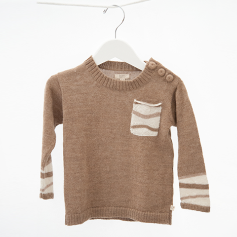 ALPACA WOOL BABY SWEATER - CARAMEL