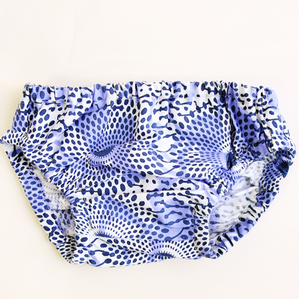 AFRICAN PRINT BUE & WHITE BABY BLOOMERS