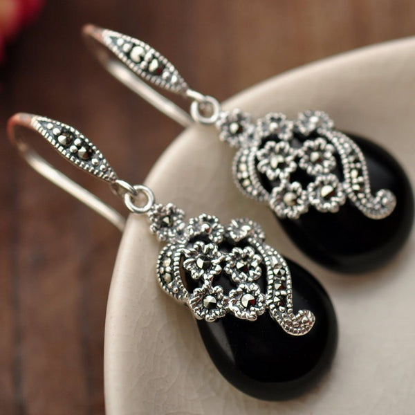 Silver jewelry inlaid natural black onyx Marcasite  Earrings xh023910w