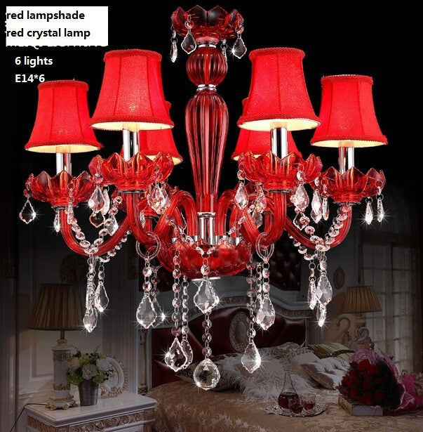 6  lights Red  Crystal candle pendant lamp /led crystal  romantic wedding chandelier fashion european-style bedroom Modern lamp