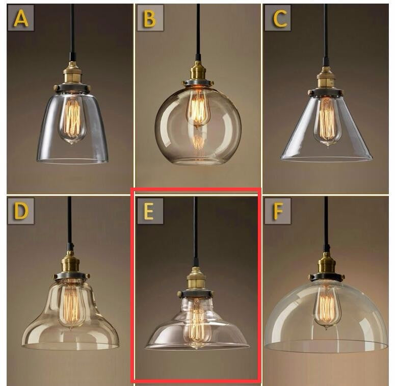 5 Pieces E Lamp For AnDo Loft Style American Rural Industrial Vintage Glass Pendant Light Retro Cafe Restaurant Decoration Lamp