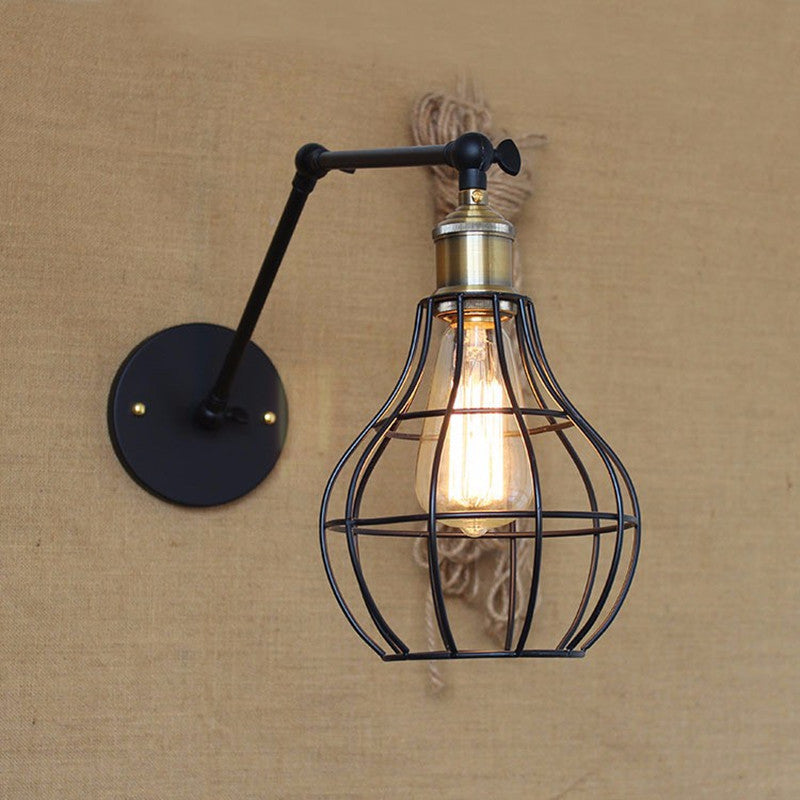 Edison light bulb Mini wall lamp Knob switch warehouse loft American country retro industry Vintage iron Small Wall Lamps