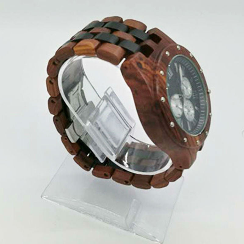 2016 Watches Men Wooden Quartz Watch with  Chronograph Sport Watch Bangle Natural Wood Watches Clock Fashion Wristwatch
