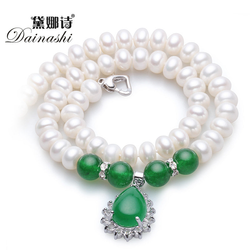 Forever Classic Green agate with 8-9mm/9-10 mm natural pearl necklace high quality pearl jewelry for women