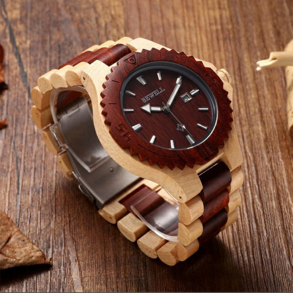 2016 New Bewell Casual Wood Watch Men Women Maple Wooden With Calendar Display Role Men Relogio Masculino Watches Japan movement
